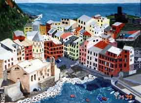 Vernazza painting by Don Freedman