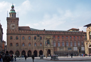 City Hall and Clock Tower in Piazza Maggiore, Bologna.