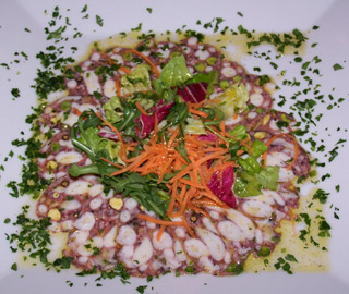 Carpaccio of octopus at Perilli in Prati restaurant in Rome
