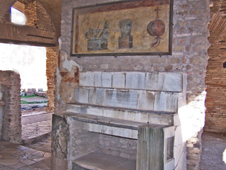 A pub at Ostia Antica where grilled food and wine were on the menu