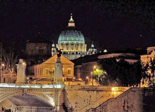 Night view of the Dome of St. Peter's