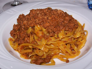 Tagliatelle all Bolognese, as enjoyed in its namesake city.