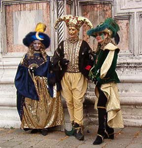 Costumed, masked Carnevale characters on Venice