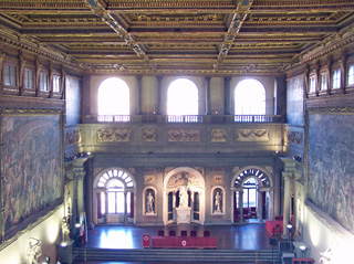 View of the Salone dei Cinquecento from the corridor above the hall - Palazzo Vecchio, Firenze, Italy.