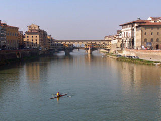 View of Ponte Vecchio from Ponte alle Grazie, Firenze, Italy.