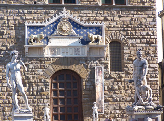 Copy of Michelangelo's David, left of the entrance to Palazzo Vecchio.