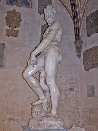 """Oceano"" (visible veins in his legs) by Giambologna at the Bargello, Firenze, Italy."