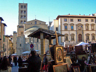 The Arezzo Antique Fair is held on the first Sunday every month.