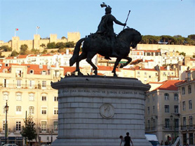 View of St. George Castle from downtown Lisboa, Portugal