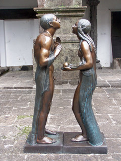 Adam & Eve, a bronze sculpture by Canto da Maia